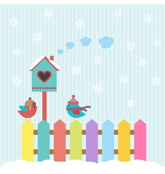 Background with birds and birdhouse winter vector
