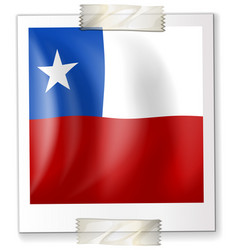 badge design for chile flag in square shape vector image