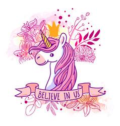 beautiful hand drawn unicorn vector image