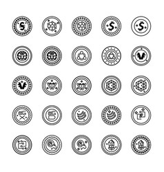 Bitcoin and cryptocurrency line icons collection vector