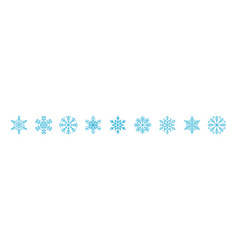 Blue icy snowflakes winter decoration collection vector