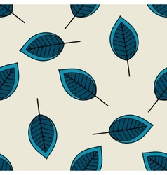 Blue scattered leaves seamless pattern vector image