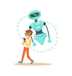 Boy controlling his robot with mobile phone vector