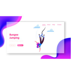 Bungee jumping landing page template brave female vector
