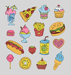 cartoon fast food stickers set vector image
