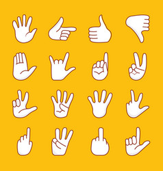 Cartoon hands icons pack vector
