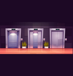 Cartoon lift doors closed and open elevator gates vector