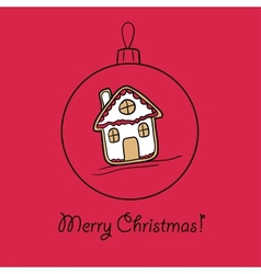 Christmas ball with Gingerbread house vector image