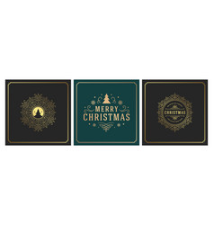 christmas square banners vintage typographic vector image