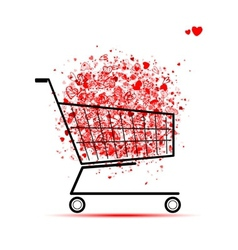 Cloud of hearts in shopping cart for your design vector image