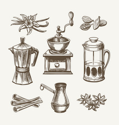 coffee and tea sketch vector image