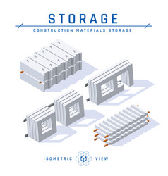 Concrete panels in isometric view icons vector