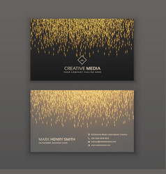 Creative business card design with golden glitter vector