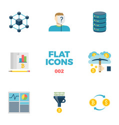 cryptocurrency and blockchain flat icons vector image