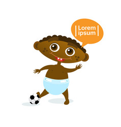 Cute baby boy african american with football ball vector