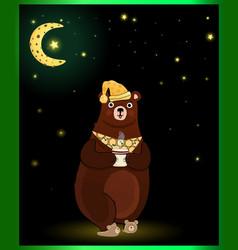 Cute cartoon bear in sleeping hat with cup on moon vector