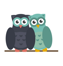 cute owls cartoons vector image