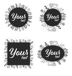 doodle line art wreath frame for logo or social vector image