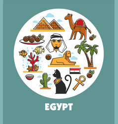 Egypt promotional poster with national symbols and vector