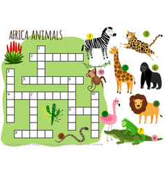 exotic african animals crossword for vector image