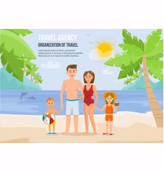 Family vacation on beach vector