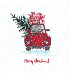 Festive christmas card red car with fir tree vector