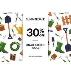 flat gardening icons sale poster vector image