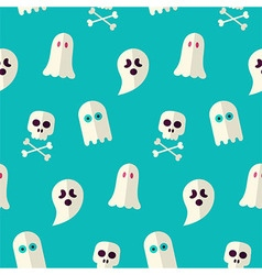 Flat Seamless Scary Ghost and Spirit Halloween vector image