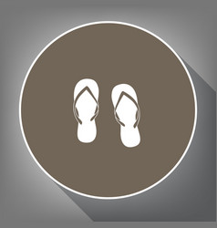 flip flop sign white icon on brown circle vector image