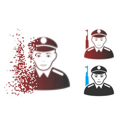 Fragmented pixel halftone soldier icon vector