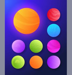 Futuristic abstract set sun and planets vector