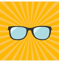 Glasses Yellow sunburst background vector
