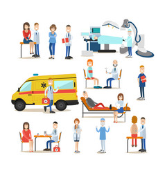 Group of medical doctors paramedics and patients vector
