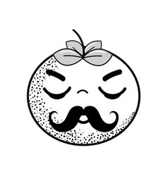Hand drawn kawaii nice sleeping tomato vegetable vector