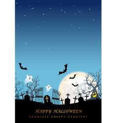 happy halloween seamless creepy cemetery vector image
