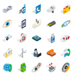 High tech icons set isometric style vector