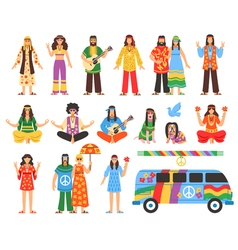 Hippie Decorative Icons Set vector image