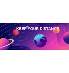 horizontal banner parade planets vector image