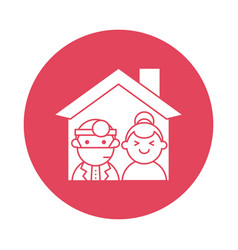 house with doctor and woman silhouette block style vector image
