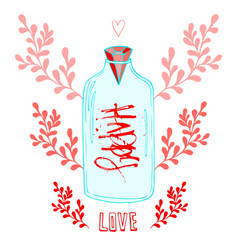 jar of love with creative lettering happy cute vector image