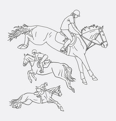 jockey riding horse sport sketches vector image