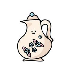 Kawaii fancy teapot cartoon vector