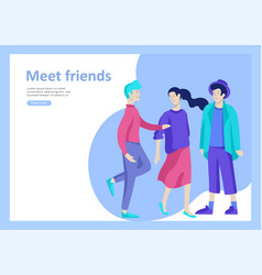 landing page templates people happy vector image