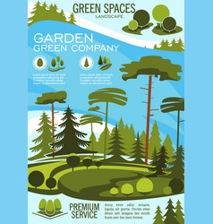 Landscape architecture banner with green tree vector