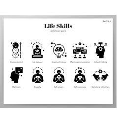 Life skills icons solid pack vector
