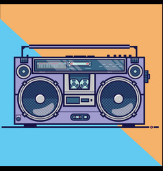 line flat icon with retro electrical audio vector image