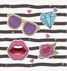 lips diamond flower sunglasses decoration fashion vector image