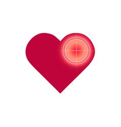 Love target logo icon design glitch neon effect vector
