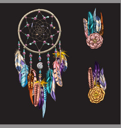 Luxary ornate dreamcatcher with feathers vector