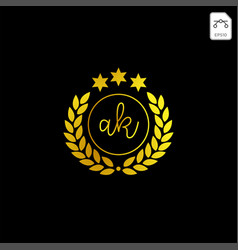 Luxury ak initial logo or symbol business company vector